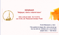 Njoftim; Me 5.10.2019 Myftinia Puke zhvillon aktivitet ne kuader te arsimit islam
